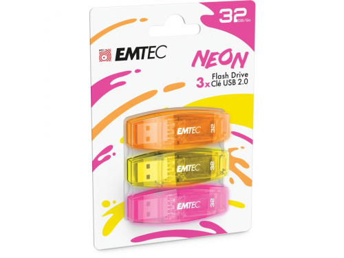 EMTEC 32gb 3Pack USB2.0 NEON Flash Drive Model: ECMMD32GC410P3NEO